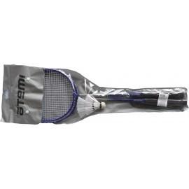 Картинка BAS-15 Набор для бадминтона Atemi, 2 ракетки + волан, сталь, сине-белый