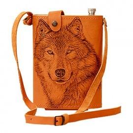 Картинка Фляжка «Волк» 2л. в кожаном чехле