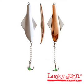Картинка Блесна вертикальная зимняя Lucky John GLIDER с цеп. и тр. 10.0г CS блистер