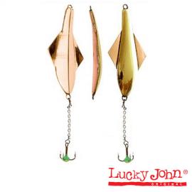 Картинка Блесна вертикальная зимняя Lucky John Glider с цепочкой и тройником 10.0г GC блистер