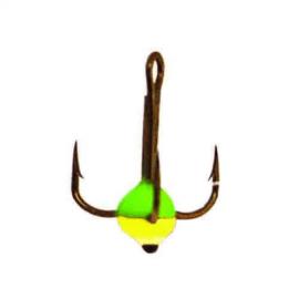 Картинка Крючок-тройник для приманок Lucky John с каплей цвет. разм. 008/GRY