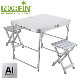 Картинка Стол складной Norfin BOREN NF Alu 80x60 +2 стула набор