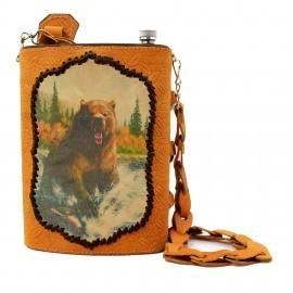 Картинка Фляжка «Охота 2» 2л в кожаном чехле. Комплект