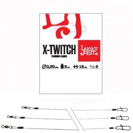 Картинка Поводки титан. LJ Pro Series X-TWITCH вертлюг и застежка 0.4мм/20кг/20см 2шт.