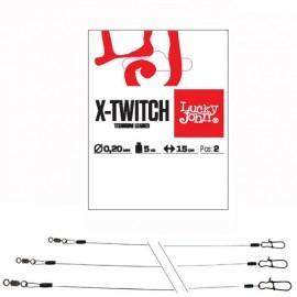 Картинка Поводки титан. LJ Pro Series X-TWITCH вертлюг и застежка 0.4мм/20кг/25см 2шт.