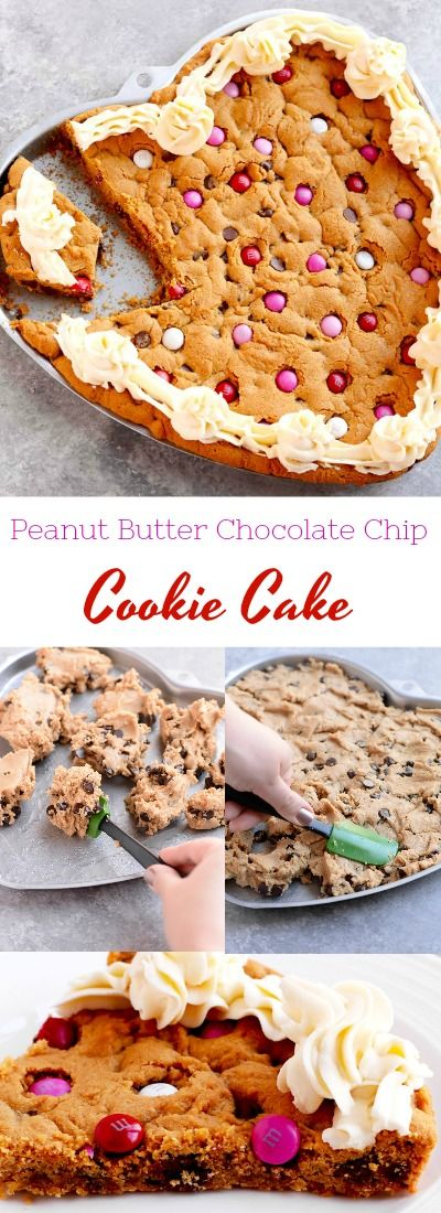 Peanut Butter Chocolate Chip Cookie Cake Heart Shaped A Pinch Of Healthy