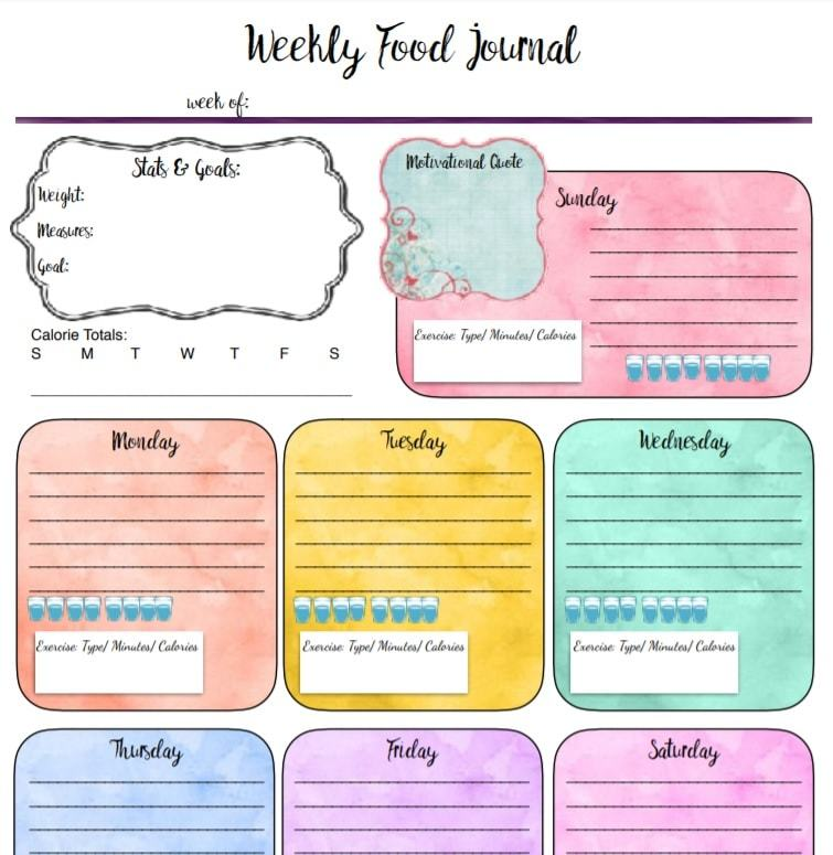 37 Food Journal Diary Templates To Track Your Meals