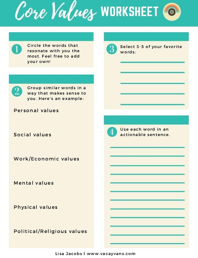 a clue on what to_do   list of values pdf   why personal core values are important