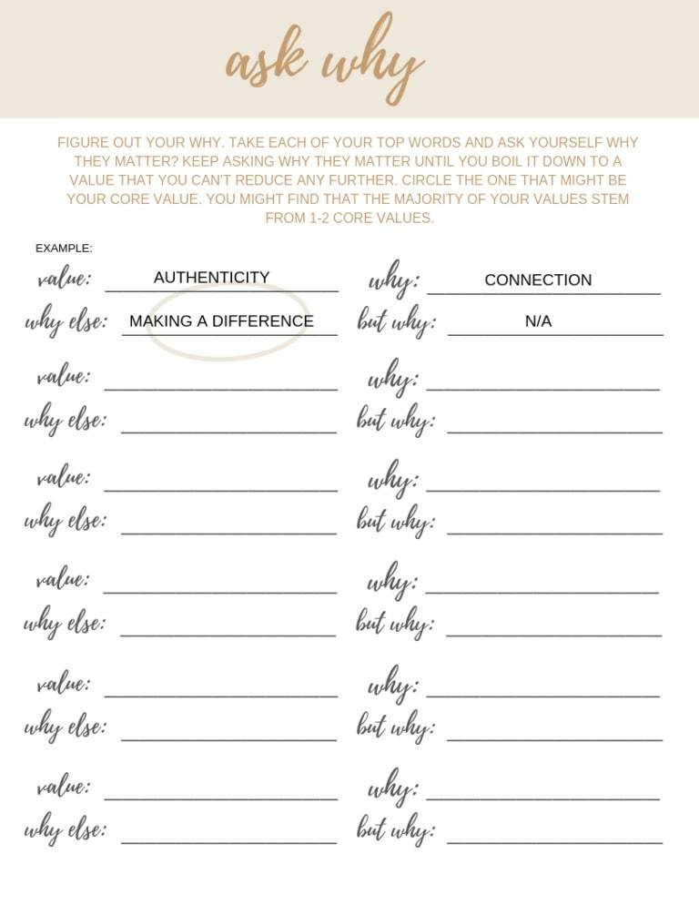 ask why   core values exercise harvard   list of values pdf