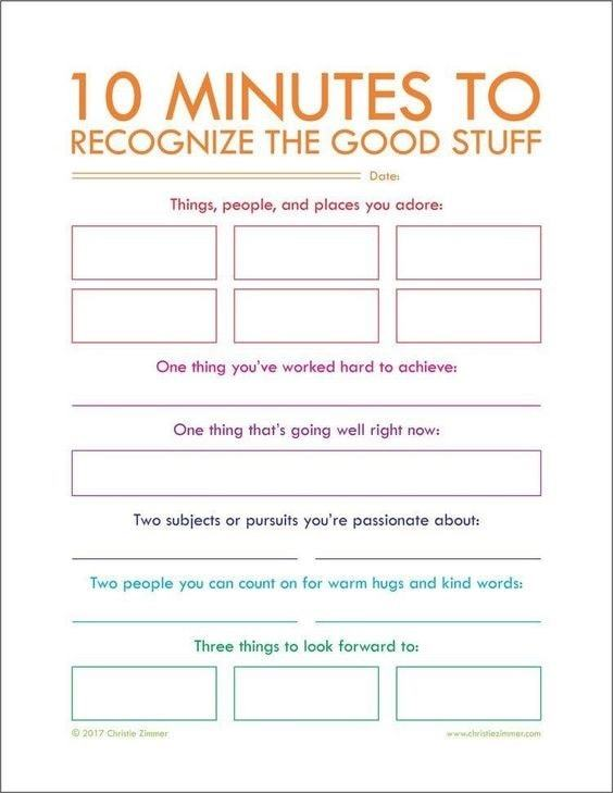 10 minutes to recognize the good stuff | mindfulness worksheets for students | mindfulness worksheets for youth pdf