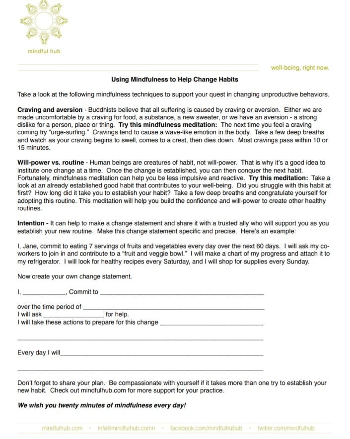 changing habits | mindfulness worksheets | mindfulness worksheets for anxiety