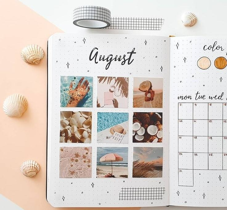 a moodboard kind of month | bullet journal monthly spread template | bullet journal weekly spread