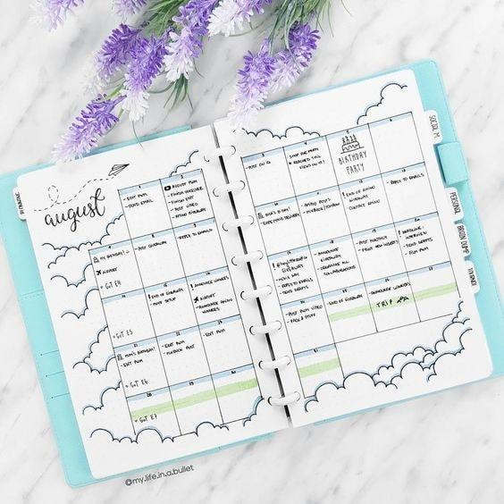 august in the clouds | bullet journal weekly spread | bullet journal ideas