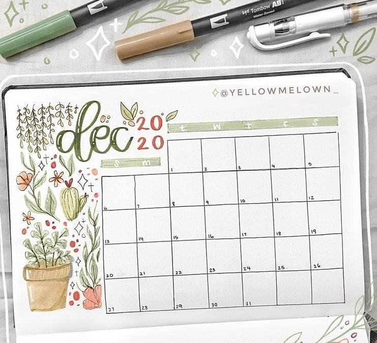 cacti theme | bullet journal monthly spread printable | bullet journal monthly cover page