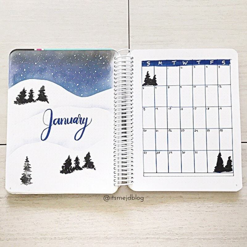 cold january | bullet journal monthly spread minimalist | bullet journal monthly spread template