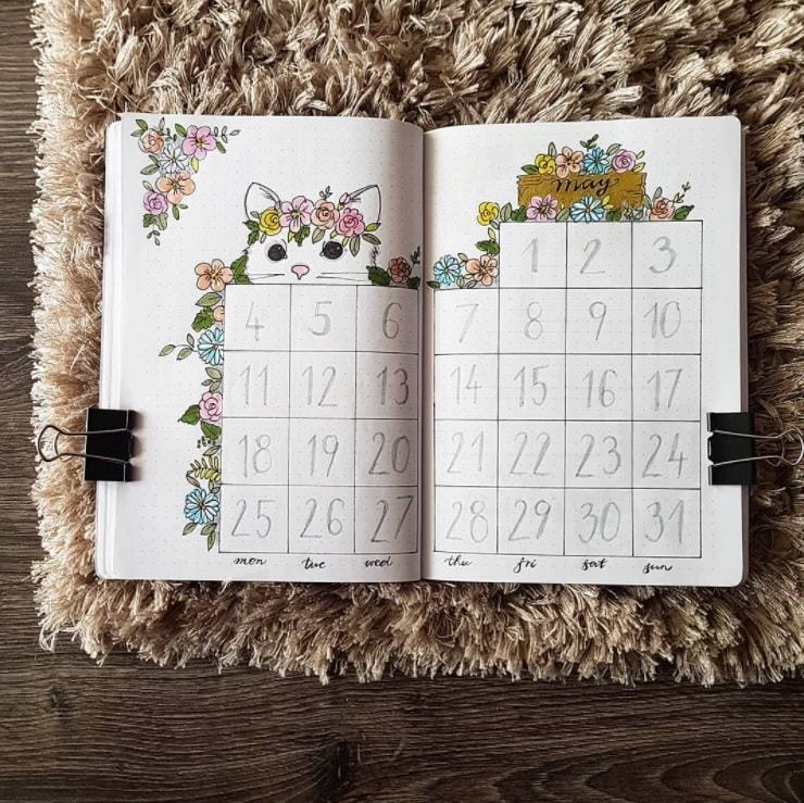 flowers and cat of may | bullet journal monthly spread template | bullet journal weekly spread