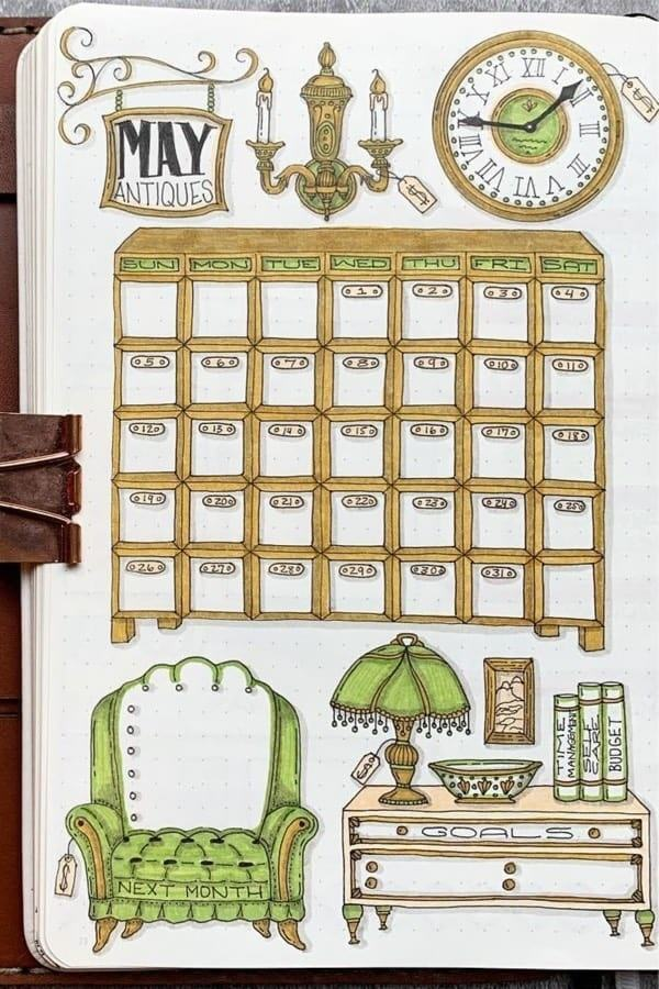may antiques | bullet journal monthly cover page | bullet journal monthly spread minimalist
