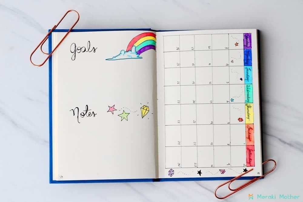 unicorns and rainbows | bullet journal monthly spread minimalist | bullet journal monthly spread template